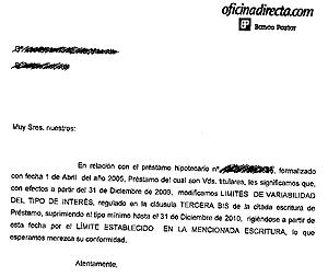 Carta remitida por Banco Pastor. | Elmundo.es  [PDF: Pinche aquí para ampliar la carta]