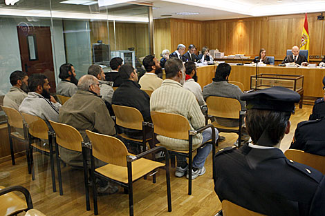 Los acusados, en un momento del juicio que se está celebrando en la Audiencia Nacional. | Efe