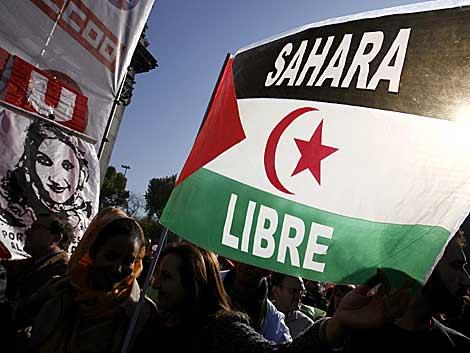Marcha el pasado sábado en Madrid en apoyo a Haidar.   Alberto Di Lolli