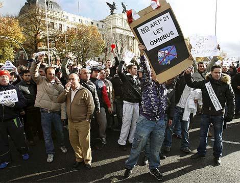 Imagen de la protesta de los taxistas. | Efe