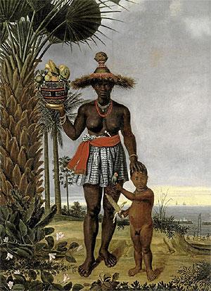 Una pintura africana muestra al fondo los barcos que se abastecian de esclavos.