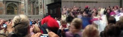 Una mujer de rojo, saltando y, poco después, junto al Papa. AP/APTN