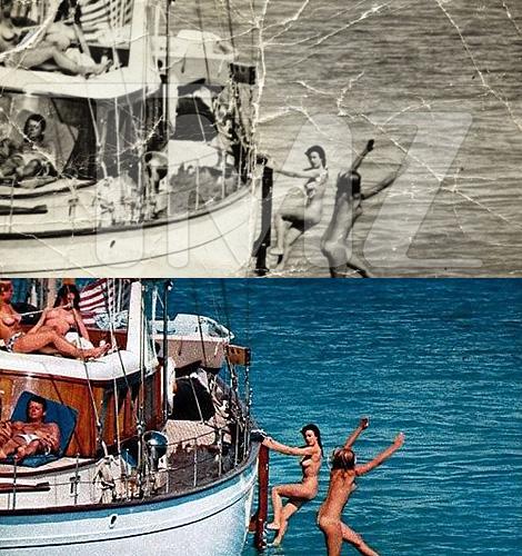 La imagen publicada por 'TMZ' y la fotografía original de 'Playboy'.