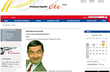 La imagen de Mr. Bean, en la página de la presidencia. | Servimedia