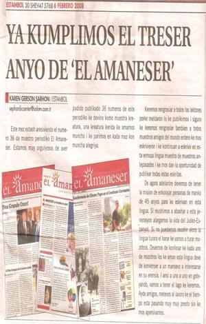 Página del periódico 'El amaneser'.