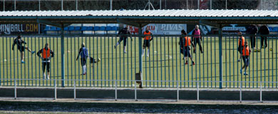 Los mallorquinistas entrenando en Madrid esta mañana.