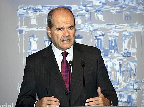 El ex presidente andaluz Manuel Chaves, en una rueda de prensa hoy en Madrid. | Efe