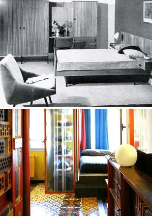 Imagen de un dormitorio de los años sesenta y otro actual. [Álbum]