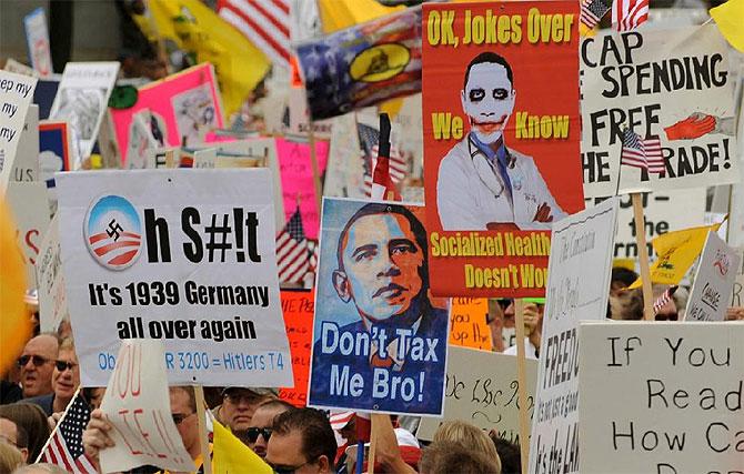 Manifestación contra la reforma sanitaria de Obama promovida por el 'Tea Party'. (Foto: EFE)