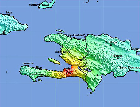El mapa muestra el epicentro del seísmo que sacudió Haití el martes. | US Geological Survey.