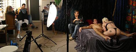 Un momento de un rodaje de una película pornográfica. |