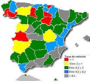 Variación de precios del m2 por provincias. | Mº de Vivienda