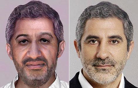 A la izda., el 'retrato robot' de Osama bin Laden; a la dcha., Gaspar Llamazares.