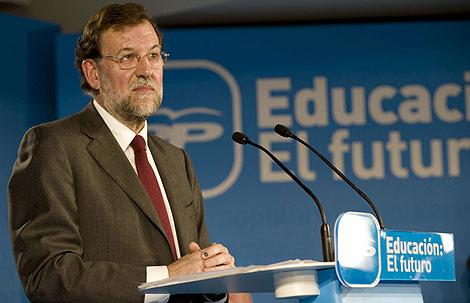 Rajoy, durante la presentación de su propuesta educativa en Toledo. | Efe