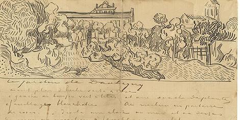 Detalle de una de las cartas de Vincent Van Gogh expuestas en Londres.   Efe