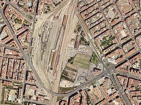 Vista aérea de la zona donde se ubicará el Parque Central de Valencia.   SPQ