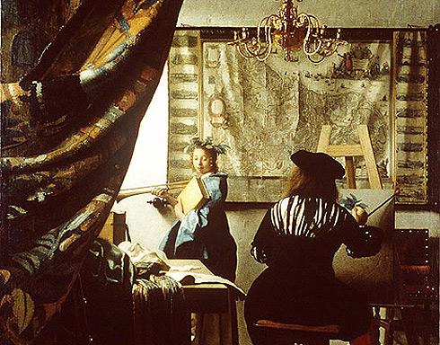 Un detalle de la 'Alegoría de la pintura' de Vermeer.