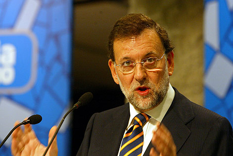 Rajoy, durante una intervención en Barcelona. | Doménec Umbert