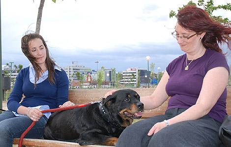 La perra Lola y sus adoptantes. | El Refugio