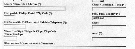 Un fragmento de la ficha de inscripción, en la web del Ayuntamiento.