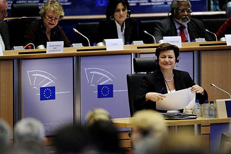 Kristalina Georgieva, en su audiencia. | Afp