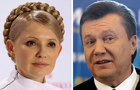 Timoshenko y Yanukovich, los dos candidatos que hoy se la juegan. | Efe