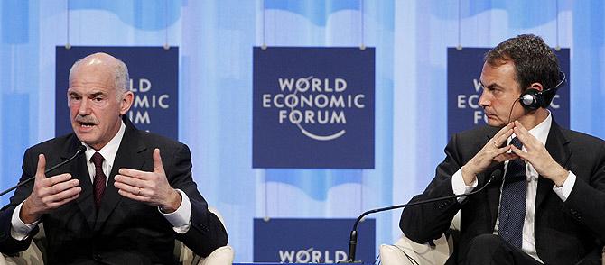 Intervención del presidente del Gobierno, José Luis Rodríguez Zapatero, en el Foro de Davos. | AP