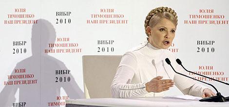 Yulia Timoshenko, durante una rueda de prensa en Kiev. | Efe