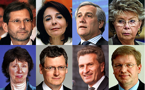 Hahn, Damanaki, Tajani, Reding, Ashton, Andor, Öttinger, Füle | Agencias