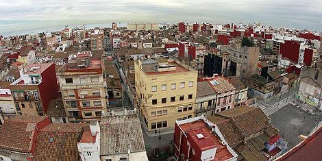 Vista aérea de la zona del barrio de El Cabanyal afectada por la prolongación. | José Cuéllar