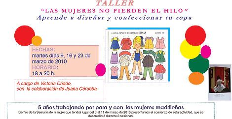 Imagen del cartel anunciador del taller de costura.