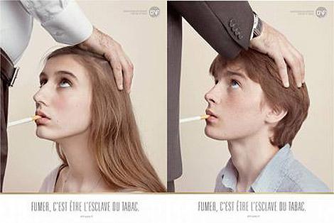 'Fumar es ser esclavo del tabaco', dice el eslogan.