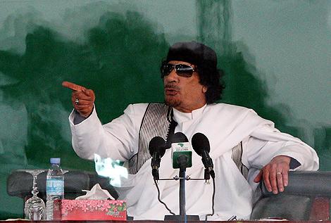El líder libio, Muamar Gadafi, en la localidad de Benghazi. | Afp