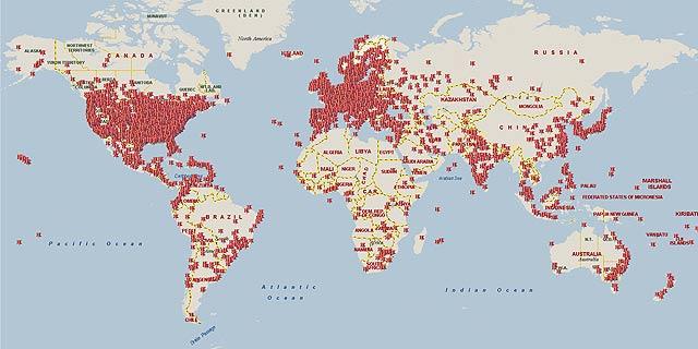 Mapa de la infección de Waledac en los últimos 18 días.   Microsoft