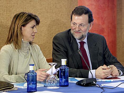 Mª Dolores de Cospedal y Mariano Rajoy, en un acto en Ciudad Real. | Efe