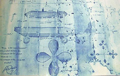 Reproducción de los planos originales del cometa-giro-avión.