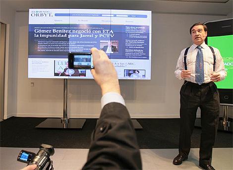 Pedro J. Ramírez, director de EL MUNDO, en la presentación de Orbyt. (Foto: Begoña Rivas)