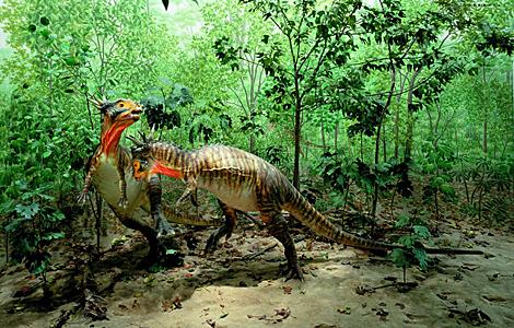 Reproducción de dos 'Stygimoloch spinifer'. | Museo de Ciencias Naturales de Denver