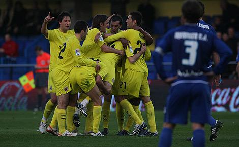 Los jugadores del Villarreal celebran el primer gol ante el Xerez. | Torres