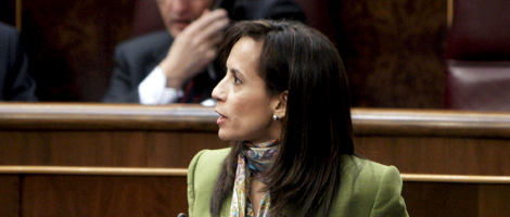 La ministra de Vivienda, Beatriz Corredor, durante su intervención en el Congreso. | Efe