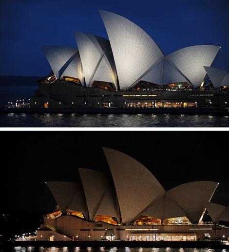 La Sydney Opera House, durante la 'Hora del Planeta'.   AfpHouse