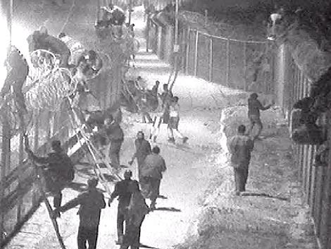 Las cámaras de la Guardia Civil captan la imagen de dcenas de inmigrantes tratan de saltar la valla de Ceuta, en 2005.   ELMUNDO.es