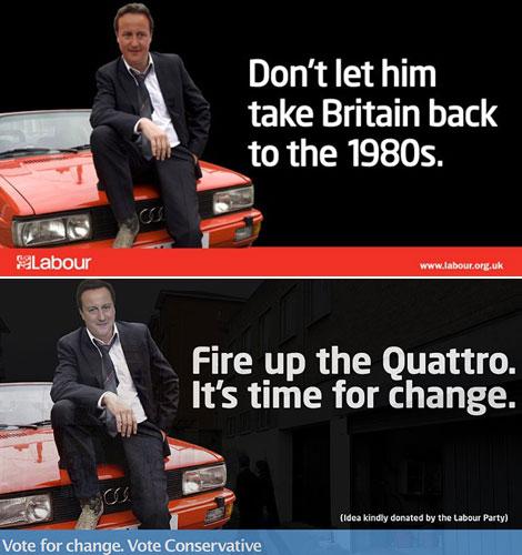 El cartel de los laboristas (arriba) ha servido para la campaña de los conservadores (abajo).