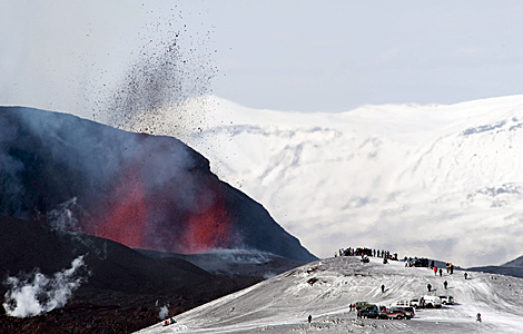 A finales de marzo hubo otra erupción en un glaciar cercano. | AFP