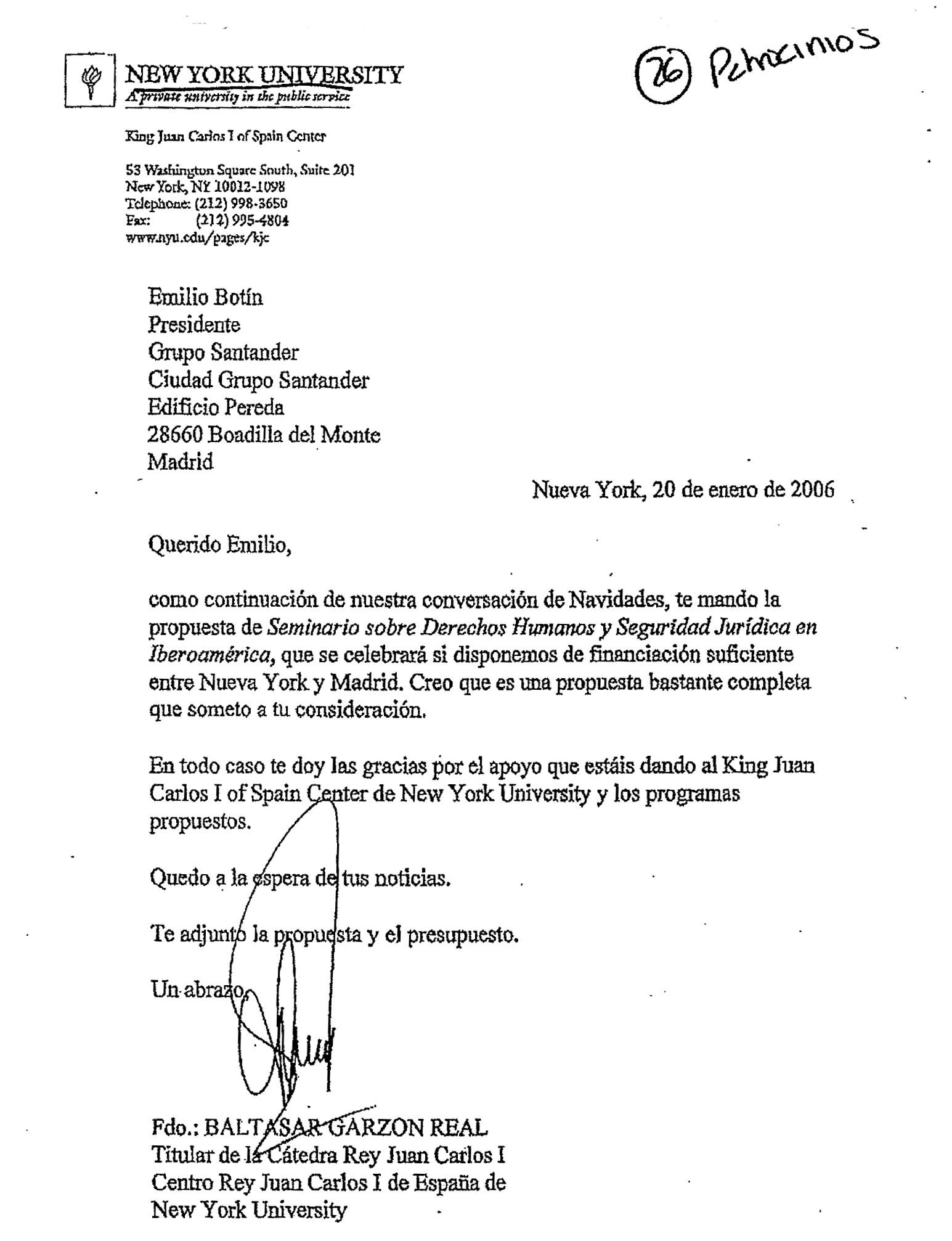Carta enviada al entonces presidente del BSCH.