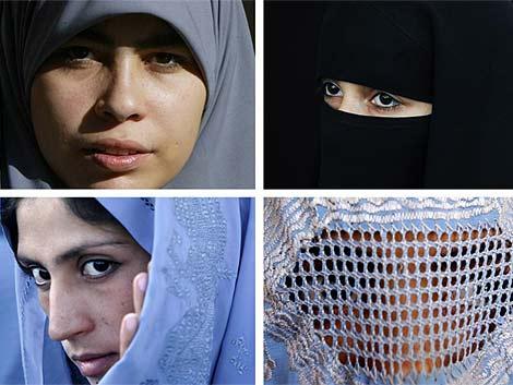 Hijab (arriba izquierda), niqab (arriba derecha), chador (abajo izq.) y burqa (abajo dcha.). | Ap