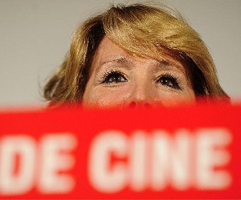 Aguirre, durante un acto en el cine capitol. (B. Díaz)