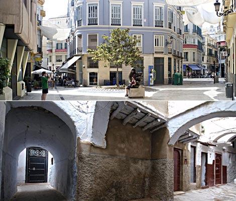 Arriiba, centro histórico de Málaga; abajo, cnetro histórico de Tetúan. | ELMUNDO.es