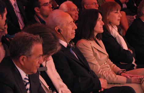 El presidente de Israel, Simon Peres, y la ministra de Cultura, Ángeles González-Sinde. | Sal Emergui