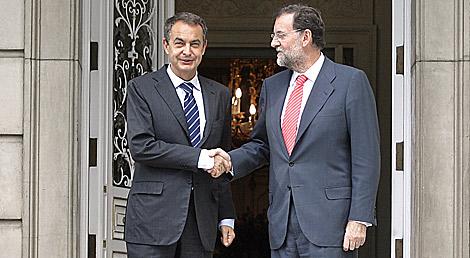 Zapatero y Rajoy, en su última cita en La Moncloa (14 / 10 / 2008). | Alberto Cuéllar.